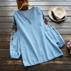 Floral Embroidered Denim V-neck Long-sleeve Blouse