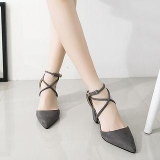 Cross Strap Pointed Pumps
