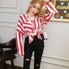 Striped Blouse / Distressed Skinny Pants