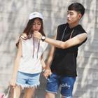 Hooded Sleeveless Couple Tank Top