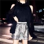 Frilled Long-sleeve Loose-fit Blouse / Sequined Shorts