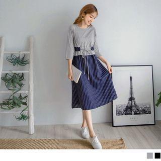 Frilled Trim Striped Panel Midi Dress