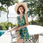 Tie-shoulder Printed Swim Dress