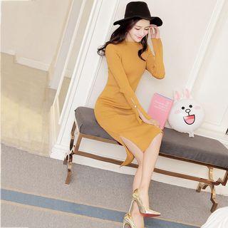 Long Sleeve Side Slit Midi Knit Dress