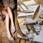 Faux-leather Jeweled Stilettos