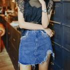 Fray-trim Denim Skirt