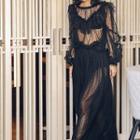 Sheer Long-sleeve Top / Maxi Skirt
