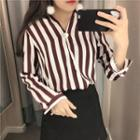 Striped Split Placket Shirt