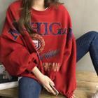 Balloon-sleeve Printed Oversized Fleece-lined Pullover