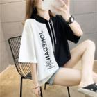 Two-tone Lettering Hooded Elbow-sleeve T-shirt