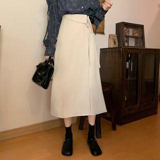 Plain Tie-waist High-waist Midi A-line Skirt