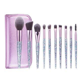 Set Of 10: Makeup Brush Set Of 10: Silver - One Size