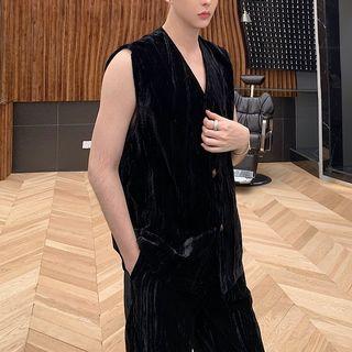 V-neck Velvet Vest Black - One Size