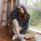 Color-block Hooded Plaid Pullover