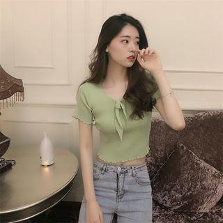 Bow Accent V-neck Shirt Sleeve Top