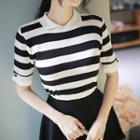 Cuffed Striped Knit Top