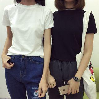 Slim-fit Plain Short-sleeve Top