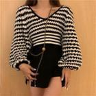 Striped Cropped Sweater / Mini A-line Skort