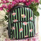 Embroidered Pinstripe Backpack
