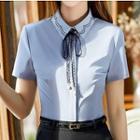 Short-sleeve Contrast Trim Hidden Placket Shirt