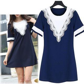 Short-sleeve Lace Trim A-line Dress