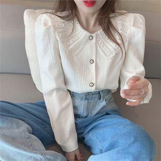 Collared Faux Pearl Button Blouse