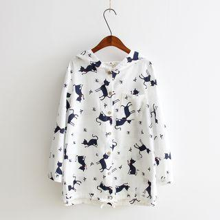 Printed Hooded Buttoned Jacket