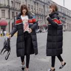 Couple Matching Colored Panel Padded Zip Long Coat