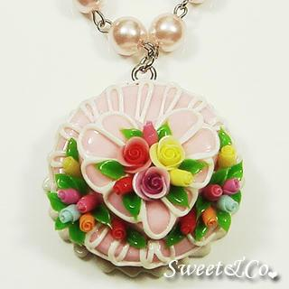 Pink Double Layer Color Rose Cake Pearl Necklace