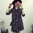 Flower Print Long-sleeve Chiffon Dress