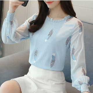 Feather Embroidered Chiffon Blouse