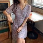 Floral Short-sleeve A-line Dress Purple - One Size