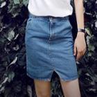 Slit-front Denim Skirt