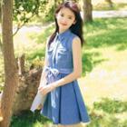 Tie Waist Denim Sleeveless Dress