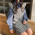 Bow Neck Blouse / Plaid Sleeveless Dress