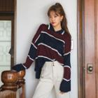Collared Color-block Knit Top