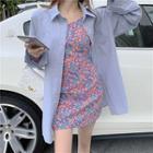 Plain Loose-fit Blouse / Floral Sleeveless Dress