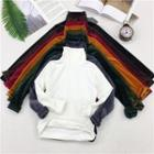 Turtleneck Long-sleeve Top / Round-neck Long-sleeve Striped Top