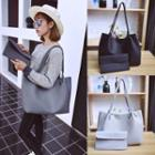 Set: Faux Leather Tote + Envelope Clutch