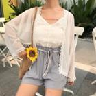 Light Jacket / Lace Camisole Top / Shorts