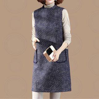 Melange Mini A-line Pinafore Dress