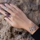 Set: Rhinestone Snake Bangle + Open Ring