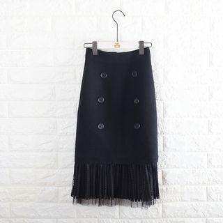 Lace Hem Buttoned Midi Skirt