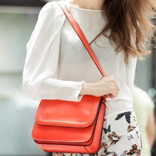 Genuine-leather Shoulder Bag Orange - One Size