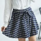 Check Buttoned A-line Skirt