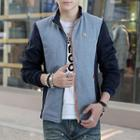 Stand Collar Color Panel Zip Jacket