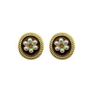 Sterling Silver Faux Pearl Flower Stud Earring