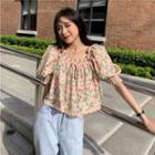 Puff-sleeve Square Neck Floral Print Chiffon Blouse