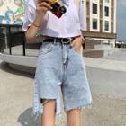 Frayed Irregular Denim Shorts