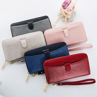 Faux Leather Zip Continental Wallet